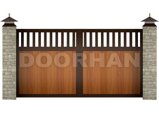 распашные ворота комбинированный щит